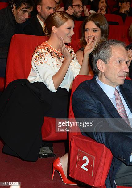 Lea Seydoux and Adele Exarchopoulos dressed by Prada attend 'Les Lumieres 2014' Cinema Awards 19th Ceremony at Espace Cardin on January 20 2014 in...