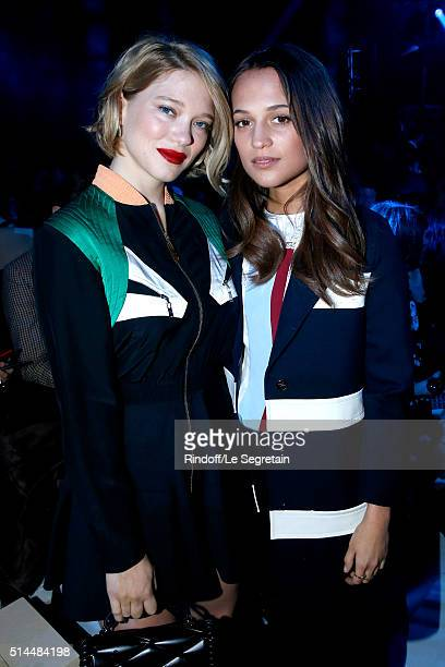 Lea Seydoux and Alicia Vikander attend the Louis Vuitton show as part of the Paris Fashion Week Womenswear Fall/Winter 2016/2017 Held at Louis...
