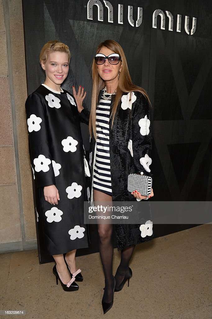 Lea Seydoux and <a gi-track='captionPersonalityLinkClicked' href=/galleries/search?phrase=Anna+Dello+Russo&family=editorial&specificpeople=4391772 ng-click='$event.stopPropagation()'>Anna Dello Russo</a> attend the Miu Miu Fall/Winter 2013 Ready-to-Wear show as part of Paris Fashion Week on March 6, 2013 in Paris, France.