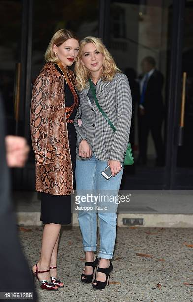 Lea Seydoux and Camille Seydoux depart the Miu Miu Fashion Show during the Paris Fashion Week S/S 2016 Day Nine on October 7 2015 in Paris France