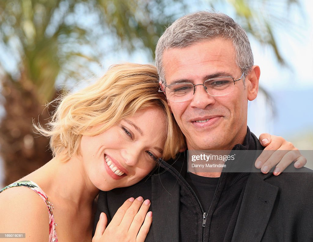 Lea Seydoux and director <a gi-track='captionPersonalityLinkClicked' href=/galleries/search?phrase=Abdellatif+Kechiche&family=editorial&specificpeople=2549398 ng-click='$event.stopPropagation()'>Abdellatif Kechiche</a> aattend the Photocall for 'La Vie D'Adele' during The 66th Annual Cannes Film Festival at the Palais des Festival on May 23, 2013 in Cannes, France.