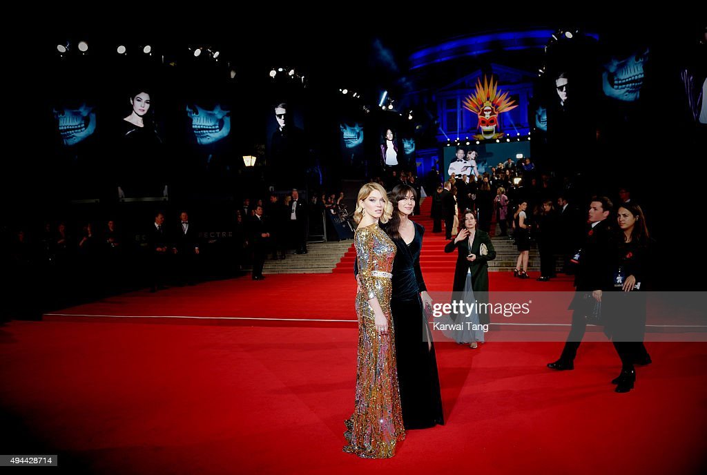 Lea Seydoux and Monica Bellucci attend the Royal Film Performance of 'Spectre' at the Royal Albert Hall on October 26, 2015 in London, England.