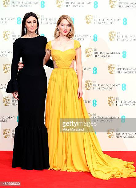 Lea Seydoux and Monica Belluci pose in the winners room at the EE British Academy Film Awards at The Royal Opera House on February 8 2015 in London...
