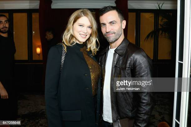 Lea Seydoux and Nicolas Ghesquiere attend the Mastermind Magazine launch dinner as part of Paris Fashion Week Womenswear Fall/Winter 2017/2018 at...