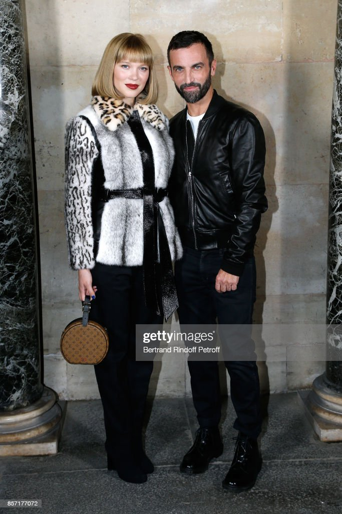 lea-seydoux-and-stylist-nicolas-ghesquiere-pose-after-the-louis-show-picture-id857177072