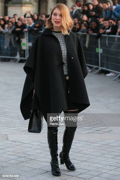 Lea Seydoux arrives at the Louis Vuitton show as part of the Paris Fashion Week Womenswear Fall/Winter 2017/2018 on March 7 2017 in Paris France