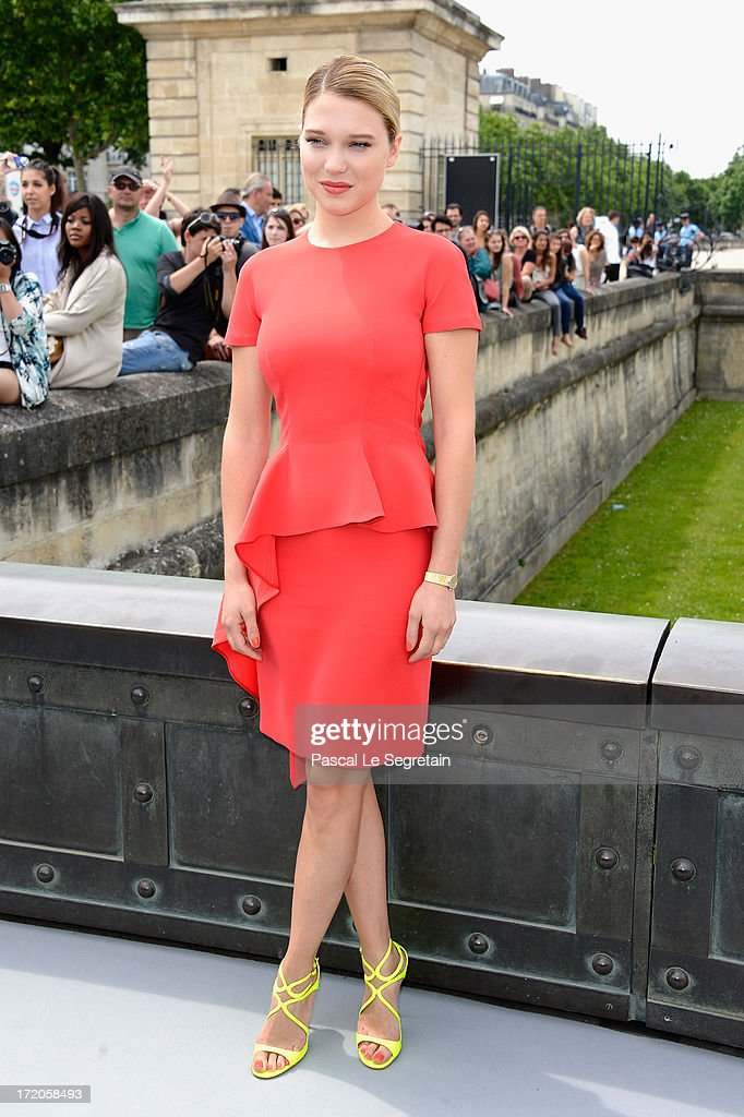 Lea Seydoux attends the Christian Dior show as part of Paris Fashion Week Haute-Couture Fall/Winter 2013-2014 at Hotel Des Invalides on July 1, 2013 in Paris, France.