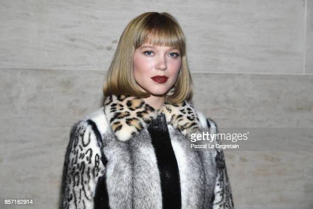 Lea Seydoux attends the Louis Vuitton show as part of the Paris Fashion Week Womenswear Spring/Summer 2018 on October 3 2017 in Paris France