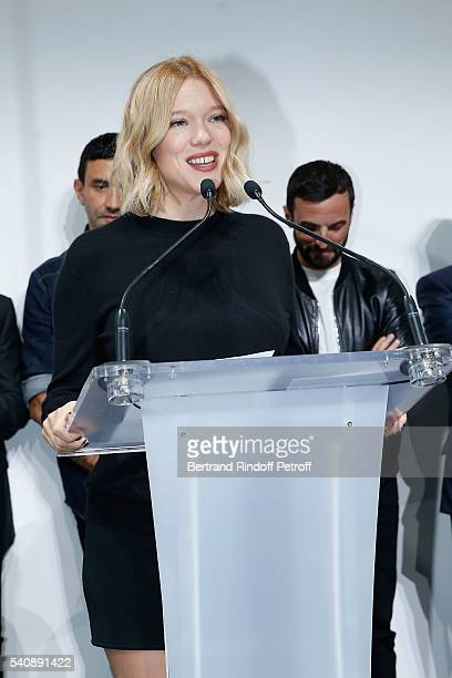 Lea Seydoux attends the LVMH Prize 2016 Young Fashion Designer at Fondation Louis Vuitton on June 16 2016 in Paris France