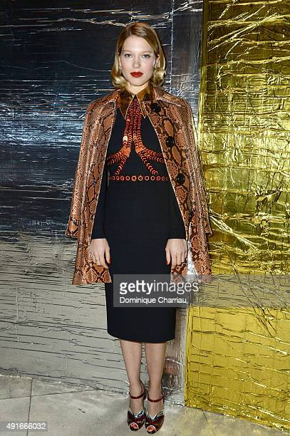 Lea Seydoux attends the Miu Miu show as part of the Paris Fashion Week Womenswear Spring/Summer 2016 on October 7 2015 in Paris France