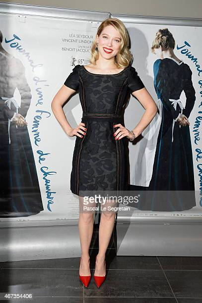 Lea Seydoux attends the Paris Premiere of 'Journal D'Une Femme De Chambre' At MK2 Bibliotheque on March 23 2015 in Paris France