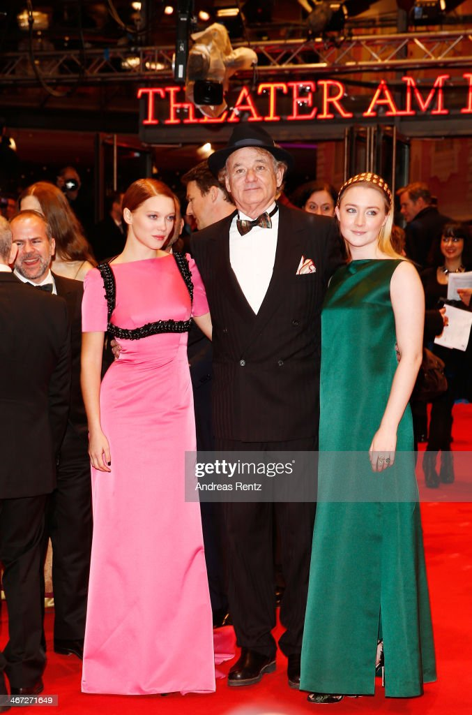 Lea Seydoux, <a gi-track='captionPersonalityLinkClicked' href=/galleries/search?phrase=Bill+Murray&family=editorial&specificpeople=171116 ng-click='$event.stopPropagation()'>Bill Murray</a> and <a gi-track='captionPersonalityLinkClicked' href=/galleries/search?phrase=Saoirse+Ronan&family=editorial&specificpeople=4475637 ng-click='$event.stopPropagation()'>Saoirse Ronan</a> attend 'The Grand Budapest Hotel' Premiere during the 64th Berlinale International Film Festival at Berlinale Palast on February 6, 2014 in Berlin, Germany.