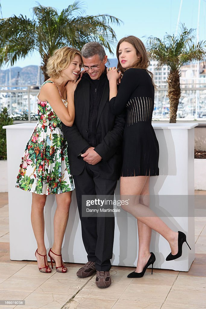 Lea Seydoux, director Abdellatif Kechiche and Adele Exarchopoulos attend the Photocall for 'La Vie D'Adele' during The 66th Annual Cannes Film Festival at the Palais des Festival on May 23, 2013 in Cannes, France.