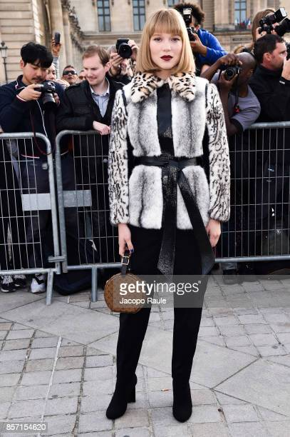 Lea Seydoux is seen arriving at Louis Vuitton show during Paris Fashion Week Womenswear Spring/Summer 2018 on October 3 2017 in Paris France