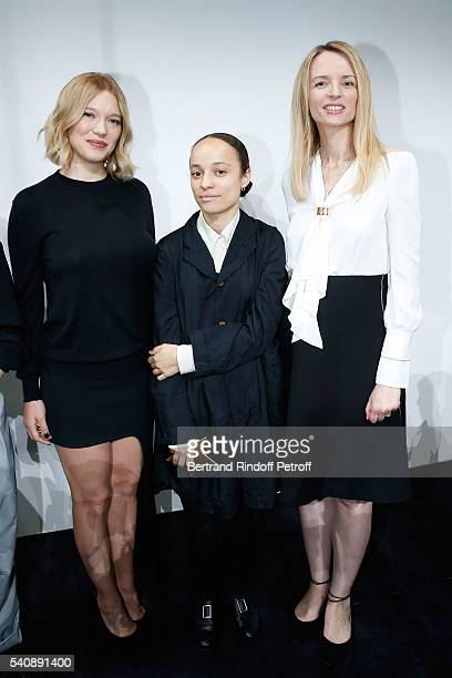 Lea Seydoux Winner of Prize Grace Wales Bonner and Delphine Arnault attend the LVMH Prize 2016 Young Fashion Designer at Fondation Louis Vuitton on...