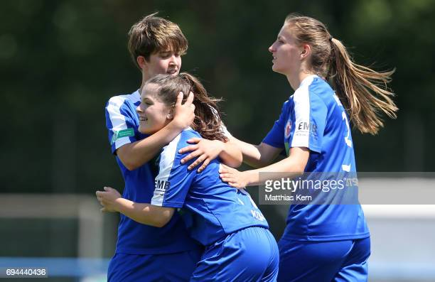 Lea Sophie Bahnemann of Potsdam jubilates with team mates after scoring the fived goal during the B Junior Girl's German Championship semi final...
