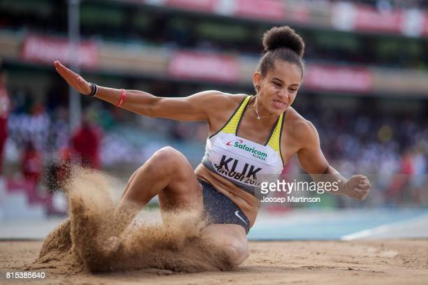 Lea Sophie Klik of Germany competes in the girls long jump during day 5 of the IAAF U18 World Championships at Moi International Sports Centre...