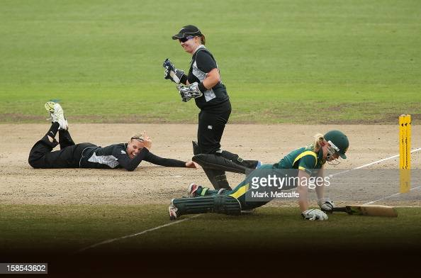 Lea Tahuhu of New Zealand celebrates running out Alex Blackwell of Australia during game four of the one day international series between the...