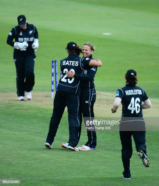 Lea Tahuhu of New Zealand celebrates with Suzie Bates of New Zealand during the ICC Women's World Cup 2017 match between New Zealand and Sri Lanka at...