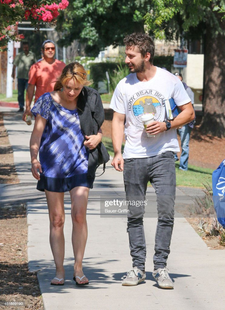 Lea Thompson and Shia LaBeouf are seen in Los Angeles on July 03, 2014 in Los Angeles, California.