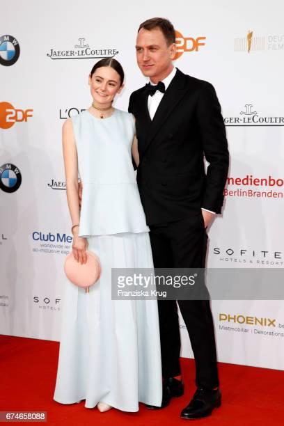 Lea van Acken and Lars Eidinger during the Lola German Film Award red carpet arrivals at Messe Berlin on April 28 2017 in Berlin Germany