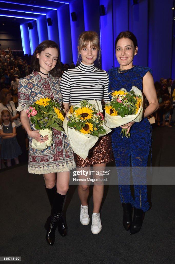 Lea van Acken, Hanna Binke and Nicolette Krebitz during the 'Ostwind - Aufbruch nach Ora' premiere n Munich at Mathaeser Filmpalast on July 16, 2017 in Munich, Germany.