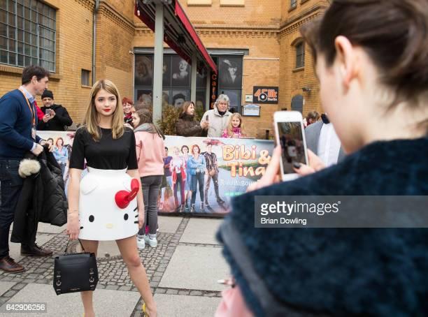 Lea van Acken takes a photo of Lisa Marie Koroll at the German premiere of the film 'Bibi Tina Tohuwabohu Total' at Kino in der Kulturbrauerei on...