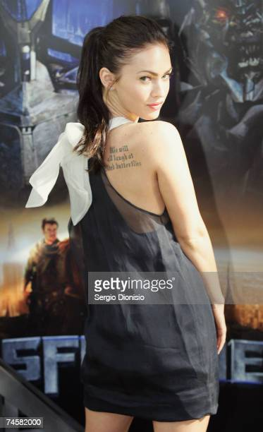 Lead actress Megan Fox of the US attends the Press Conference for the new film 'Transformers' at Carriageworks on June 13 2007 in Sydney Australia
