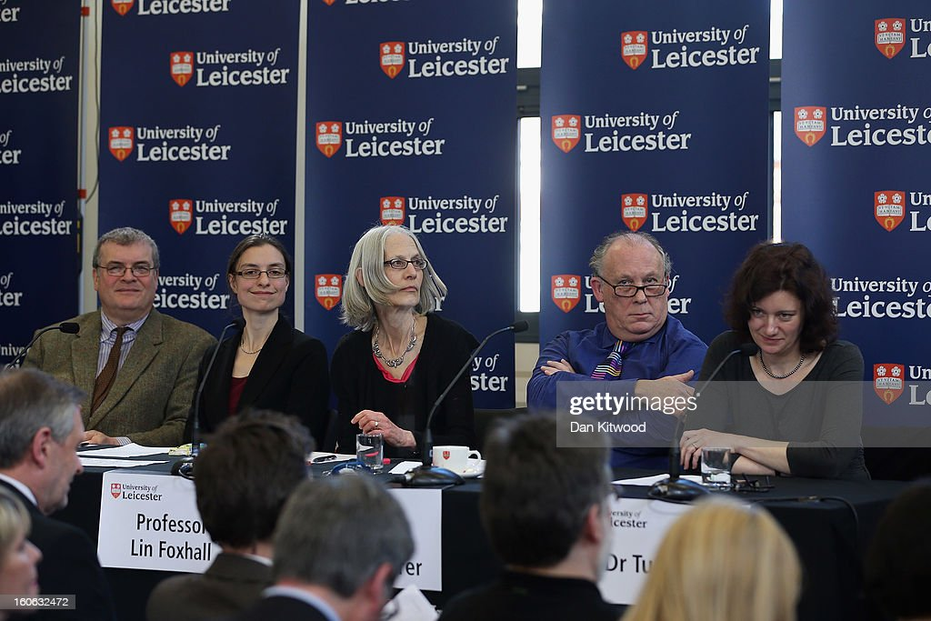 Lead archaeologist Richard Buckley, Dr Jo Appleby, Professor Lin Foxhall, Professor Kevin Schuerer and Dr Turi King attend a press conference at University Of Leicester as archaeologists announce whether the human remains found in Leicester are those of King Richard III on February 4, 2013 in Leicester, England. The University of Leicester has been carrying out scientific investigations on remains found in a car park to find out whether they are those of King Richard III since last September, when the skeleton was discovered in the foundations of Greyfriars Church, Leicester.