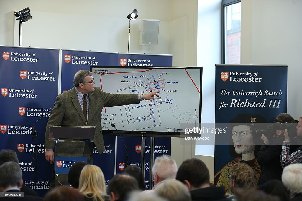 Lead archaeologist Richard Buckley, speaks at a press conference at the University Of Leicester as archaeologists announce whether the human remains found in Leicester are those of King Richard III on February 4, 2013 in Leicester, England. The University of Leicester has been carrying out scientific investigations on remains found in a car park to find out whether they are those of King Richard III since last September, when the skeleton was discovered in the foundations of Greyfriars Church, Leicester.