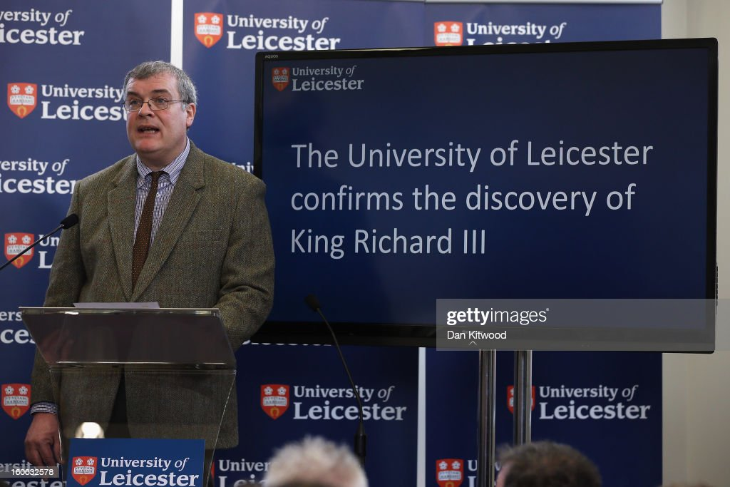 Lead archaeologist Richard Buckley speaks during a press conference at University Of Leicester as archaeologists announce whether the human remains found in Leicester are those of King Richard III on February 4, 2013 in Leicester, England. The University of Leicester has been carrying out scientific investigations on remains found in a car park to find out whether they are those of King Richard III since last September, when the skeleton was discovered in the foundations of Greyfriars Church, Leicester.