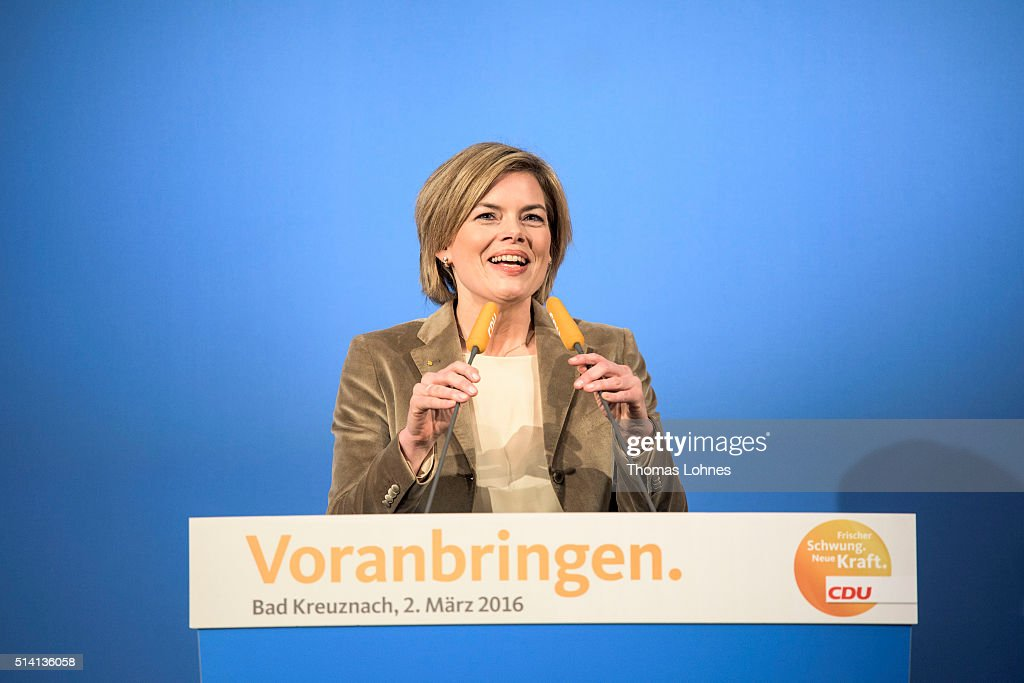 CDU lead candidate for Rhineland-Palatinate <a gi-track='captionPersonalityLinkClicked' href=/galleries/search?phrase=Julia+Kloeckner&family=editorial&specificpeople=6902085 ng-click='$event.stopPropagation()'>Julia Kloeckner</a> speaks at an election campaign rally on March 2, 2016 in Bad Kreuznach, Germany. State elections scheduled for March 13 in three German states: Rhineland-Palatinate, Saxony-Anhalt and Baden-Wuerttemberg, will be a crucial test-case for German Chancellor and Chairwoman of the German Christian Democrats (CDU) Angela Merkel, who has come under increasing pressure over her liberal immigration policy towards migrants and refugees. The AfD, with campaign rhetoric aimed at Germans who are uneasy with so many newcomers, has solid polling numbers and will almost certainly win seats in all three state parliaments.