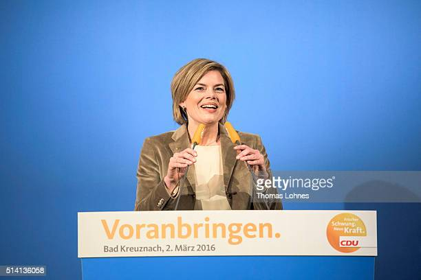 CDU lead candidate for RhinelandPalatinate Julia Kloeckner speaks at an election campaign rally on March 2 2016 in Bad Kreuznach Germany State...