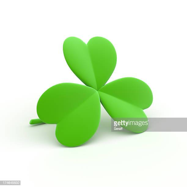 3 lead clover shamrock all green with white background