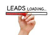 Hand drawing lead generation loading bar concept with marker on transparent wipe board.