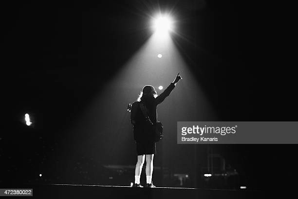 Lead guitarist Angus Young of AC/DC performs live for fans at Queensland Sport and Athletics Centre on February 25 2010 in Brisbane Australia