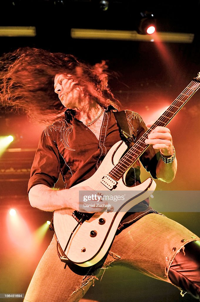 Lead guitarist Chris Broderick of Megadeth performs at Best Buy Theater on November 14, 2012 in New York City.