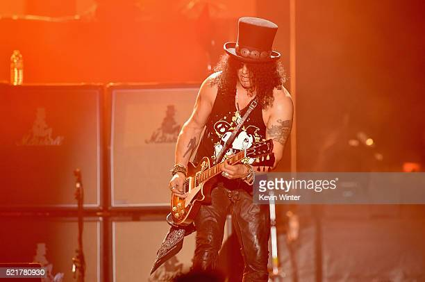Lead guitarist of Guns N' Roses Slash performs onstage during day 2 of the 2016 Coachella Valley Music Arts Festival Weekend 1 at the Empire Polo...
