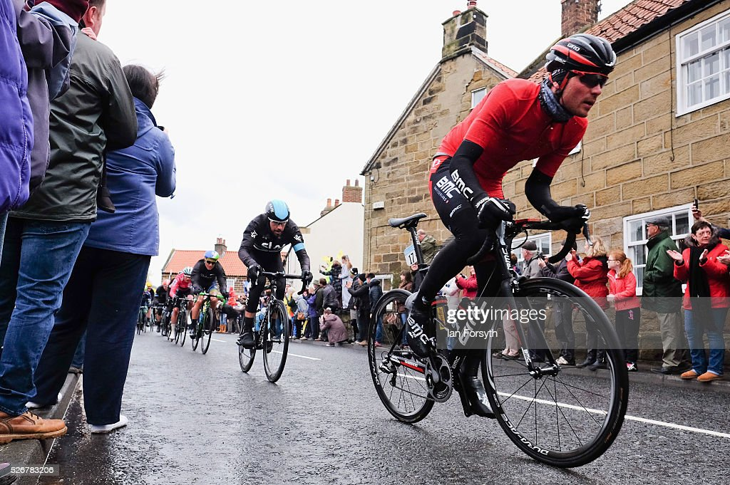 Lead riders pass through Great Ayton during stage three of the Tour de Yorkshire cycle race on May 1, 2016 in Great Ayton, England. Returning for a second year the hugely popular race has grown to be one of the most spectacular events in the British sporting calendar. Up to a million people have lined the route along the three stages of the race which ends today with the 198km Middlesbrough to Scarborough leg.