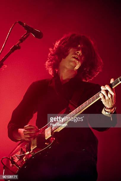 Lead singer Alex Turner of British alternative rock band Arctic Monkeys performs on stage on the last day of Lowlands festival at Evenemententerrein...