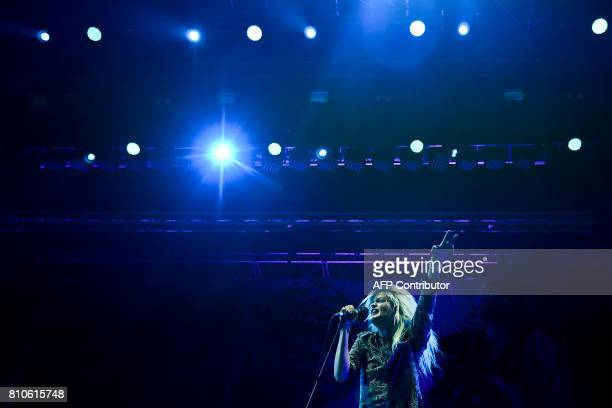 US Lead singer Alison Mosshart of the North American band The Kills performs on stage during the 11th edition of the Alive Festival in Oeiras near...