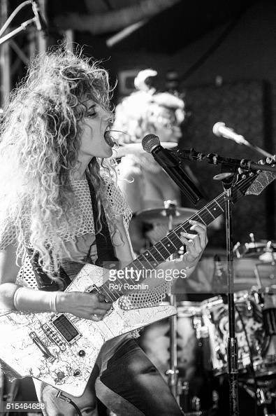 Lead Singer and guitarist Taraka Larson of Prince Rama performs at Baby's All Right on March 4 2016 in New York City Prince Rama played their first...
