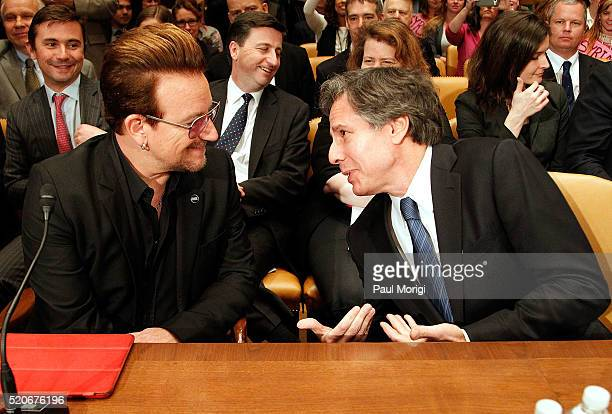 U2 lead singer Bono cofounder of ONE and talks with Deputy Secretary of State Antony Blinken before a Senate appropriations subcommittee hearing on...