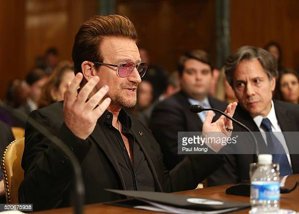 U2 lead singer Bono cofounder of ONE and testifies before a Senate appropriations subcommittee at a hearing on causes and consequences of violent...