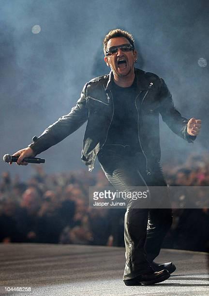 Lead singer Bono of U2 performs on stage during the U2 360 Tour concert at the Estadio Anoeta on September 26 2010 in San Sebastian Spain