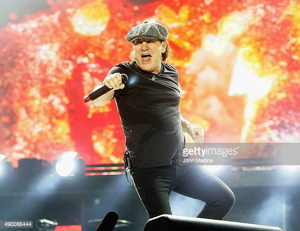 Lead singer Brian Johnson of AC/DC performs during the 'Rock or Bust World Tour' at ATT Park on September 25 2015 in San Francisco California