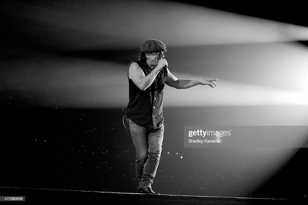 Lead singer Brian Johnson of AC/DC performs live for fans at Queensland Sport and Athletics Centre on February 25, 2010 in Brisbane, Australia.