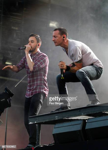 Lead singer Chester Bennington and Dave Farrell of American rock band Linkin Park perform at Pinkpop festival Landgraaf Netherlands 2752012