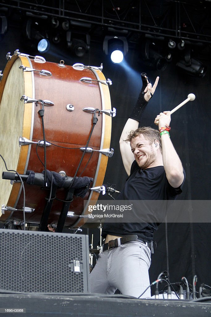 Lead singer <a gi-track='captionPersonalityLinkClicked' href=/galleries/search?phrase=Dan+Reynolds&family=editorial&specificpeople=8995077 ng-click='$event.stopPropagation()'>Dan Reynolds</a> of Imagine Dragons performs during the 2013 Hangout Music Festival on May 19, 2013 in Gulf Shores, Alabama.