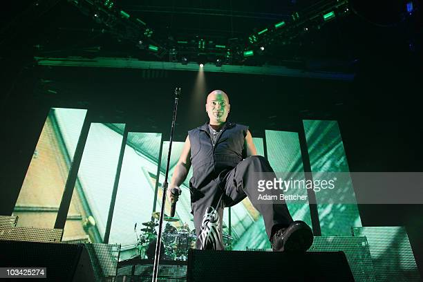 Lead singer David Draiman of the band Disturbed performs at the start of the tour for the 2010 Rockstar Energy Drink Uproar Festival at Target Center...